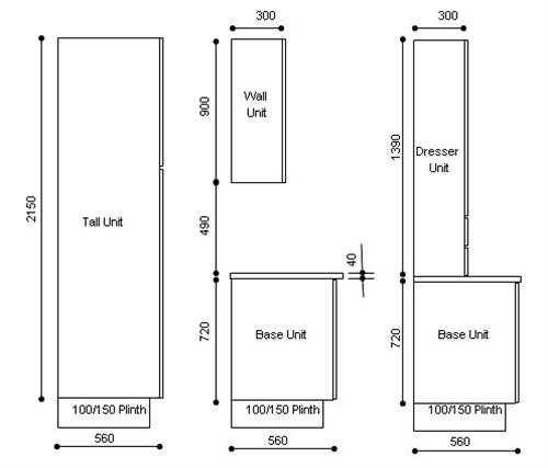 900mm High Wall Units